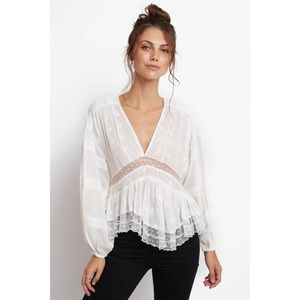 Free People Puff Sleeve Blouse w Lace Embroidery